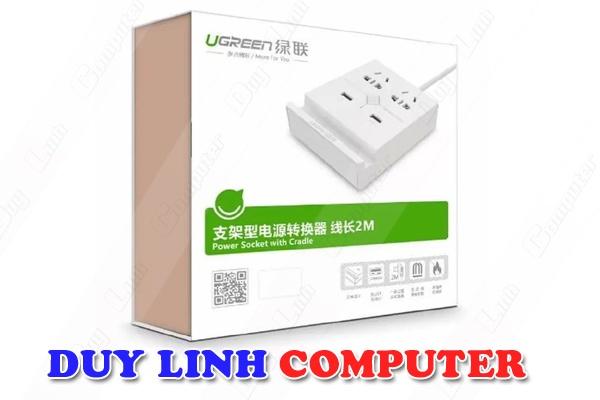 Bộ sạc 2 cổng USB 5V3.4A + 2 ổ cắm điện đa năng Ugreen 20346