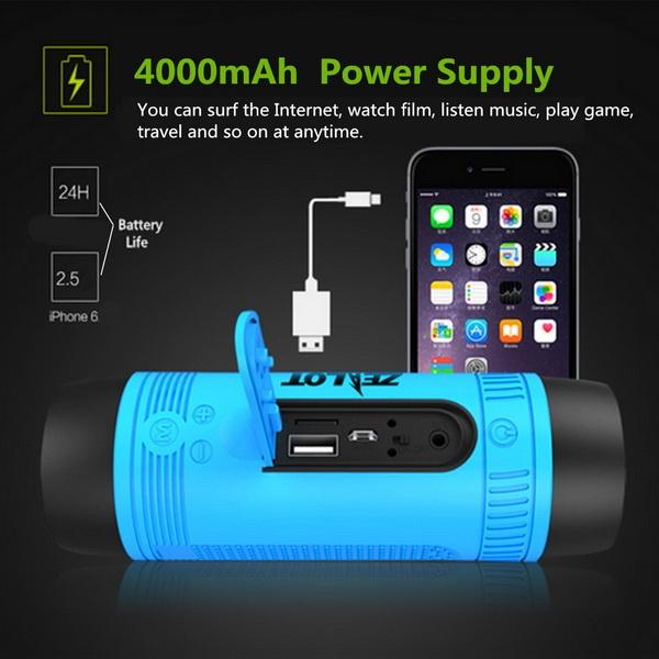Zealot S1 Wireless Bluetooth Speaker Dustproof Waterproof Flashlight FM Power Bank Multi F