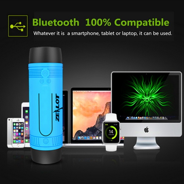 Zealot S1 Wireless Bluetooth Speaker Dustproof Waterproof Flashlight FM Power Bank Multi F