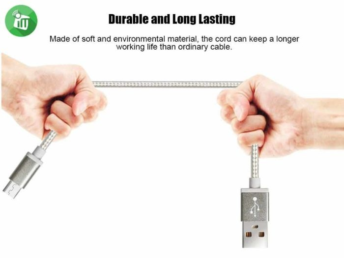 Pisen Micro Data Sync Charging Cable With Double-sided USB 1000mm (3)