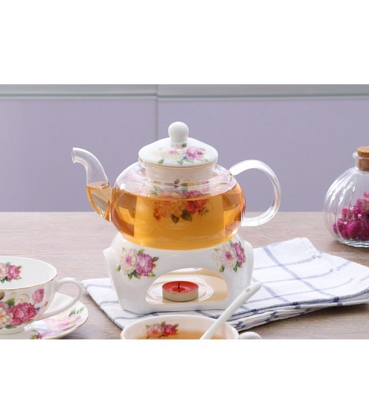 Bộ ấm trà bếp nến - Hoa Hồng 13