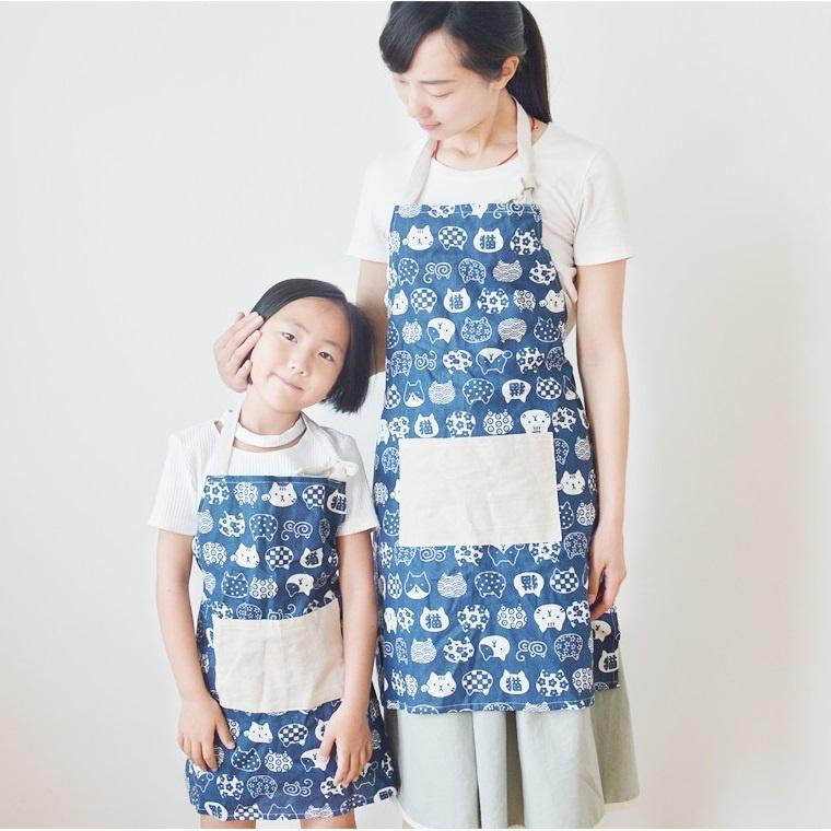 Set tạp dề mẹ và bé - xanh 1