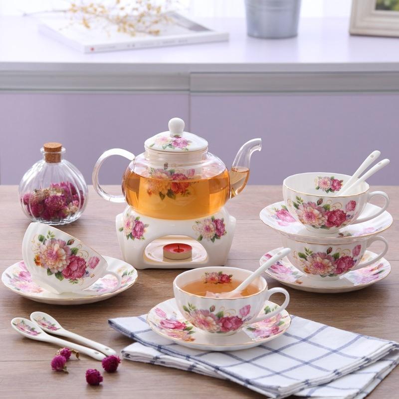 Bộ ấm trà bếp nến - Hoa Hồng 1