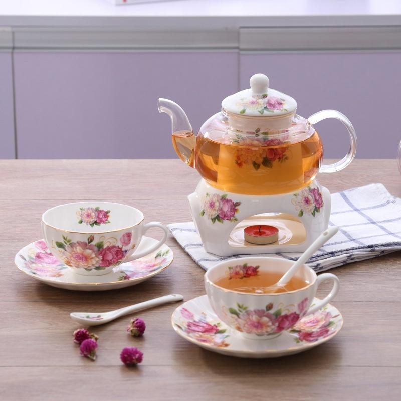 Bộ ấm trà bếp nến - Hoa Hồng 7
