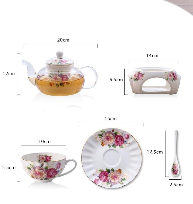 Bộ ấm trà bếp nến - Hoa Hồng 28
