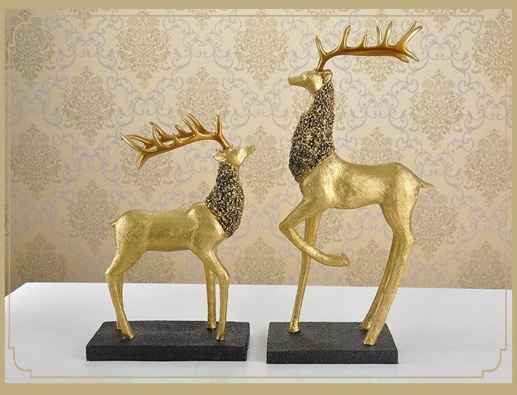 Bộ 2 tượng hươu vàng cỡ lớn 10