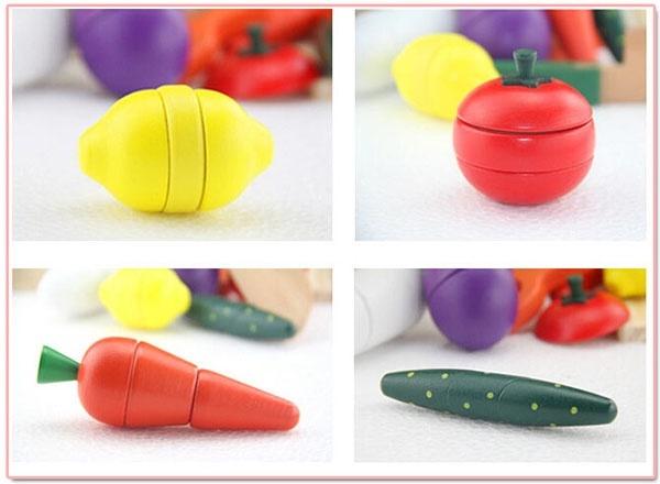 Bộ đồ chơi gỗ cắt hoa quả nam châm WOODY PUDDY NHẬT 4