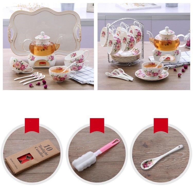 Bộ ấm trà bếp nến - Hoa Hồng 19