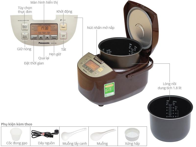 Thông số kỹ thuật Nồi cơm điện Panasonic 1.8 lít SR-ZS185TRA