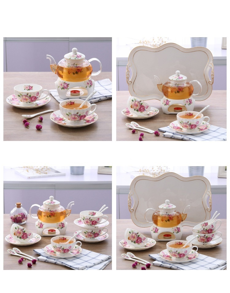 Bộ ấm trà bếp nến - Hoa Hồng 10