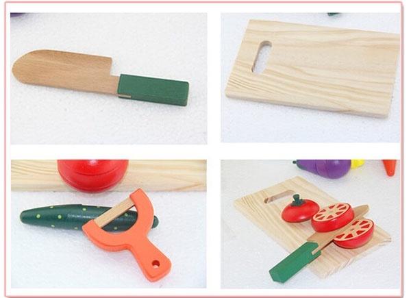 Bộ đồ chơi gỗ cắt hoa quả nam châm WOODY PUDDY NHẬT 3